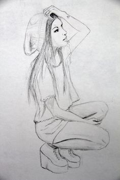 1000 Ideas About Sketches Of People On Pinterest Drawings Of Teenage Drawings Hipster Drawings Hipster Girl Drawing
