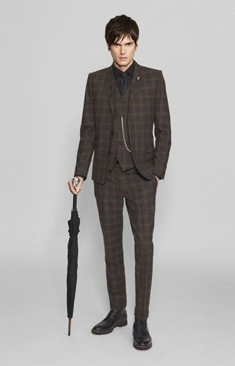 4a667b1c282 Dark brown check suit from The Kooples. Very English dandy. Check out the  pommel