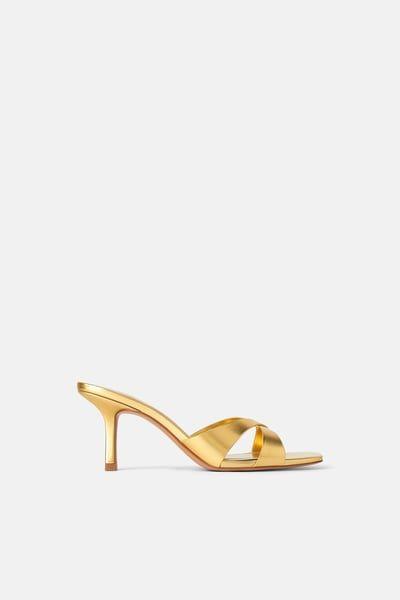 Zara Female Mid Height Heeled Mules With Cross Straps Gold 11 Heeled Mules Gold Mules Cross Straps