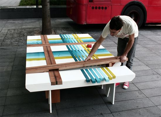 construction of plaid bench