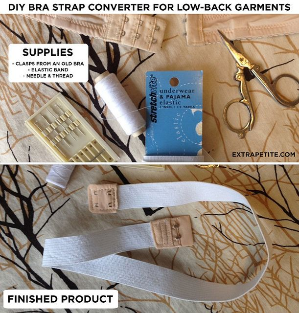 How to make a bra strap converter for low back dresses using your own, well fitting bra.