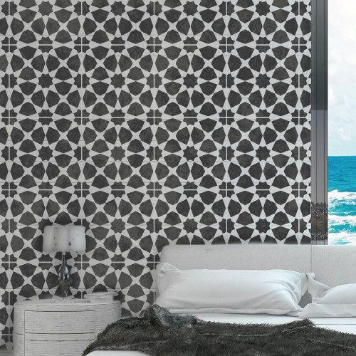 AMIRA TILE Stencil Moroccan Mosaic Tile by DizzyDuckDesignsUK - designer tapeten einrichtung maskuline note
