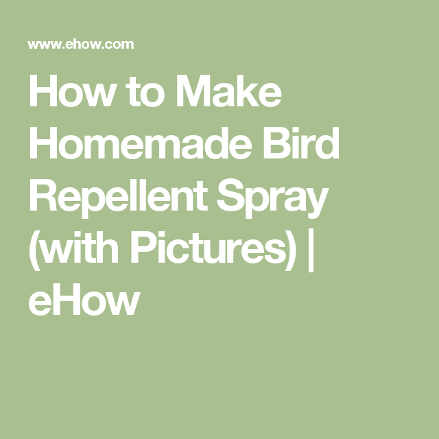 How to Make Homemade Bird Repellent Spray (with Pictures) | eHow