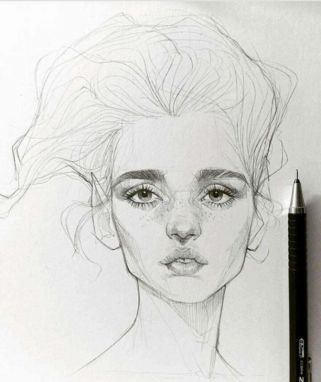 Girl face drawing mighty mistic powerful light and soo delicate awesome drawing faces with a simple pencil is my very favourite