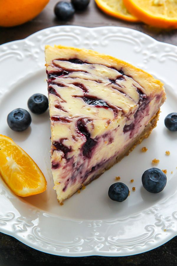 Photo of Lemon Blueberry Swirl Cheesecake – Baker by Nature