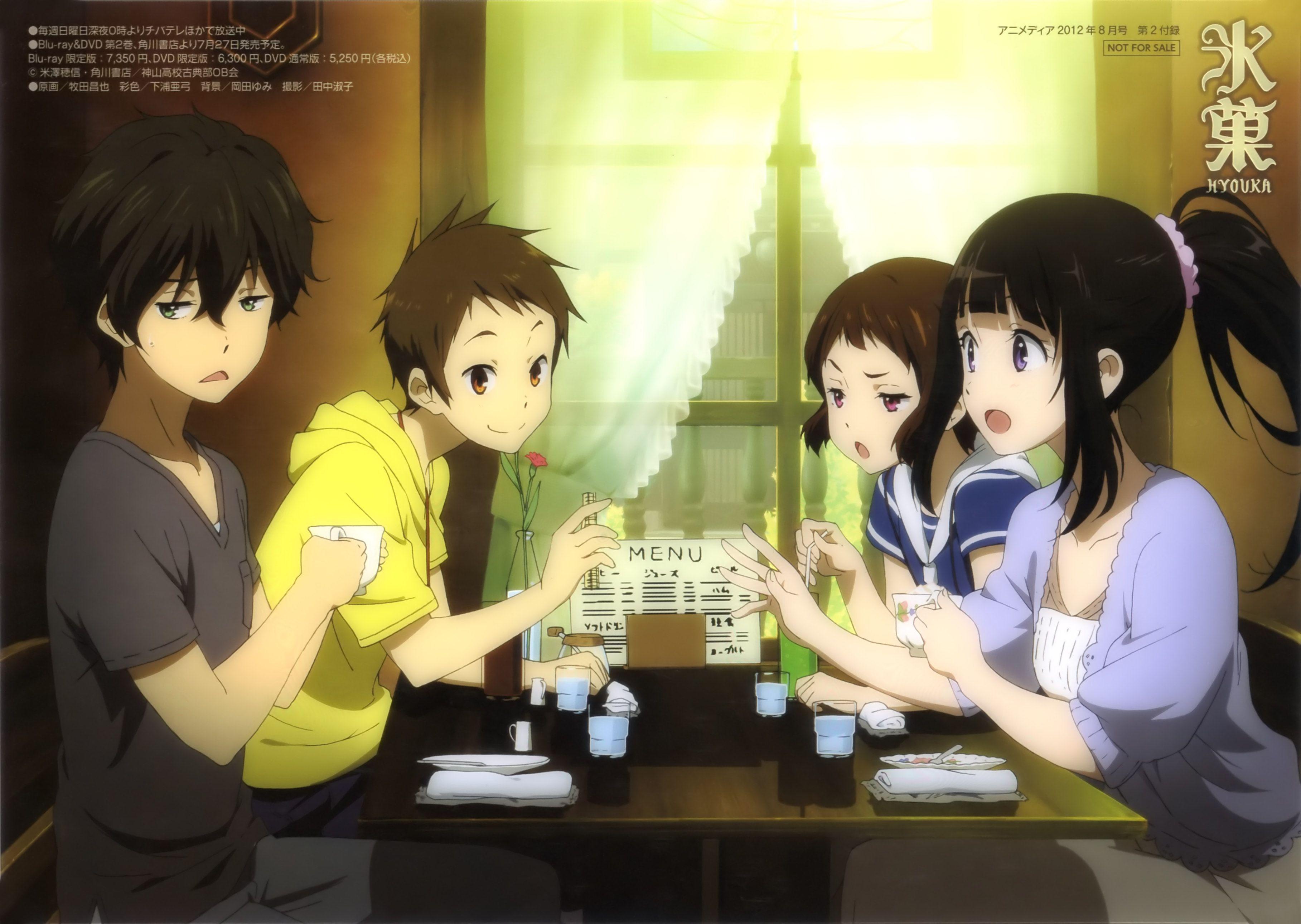 Oreki Houtarou, Ibara Mayaka, Fukube Satoshi, Chitanda Eru