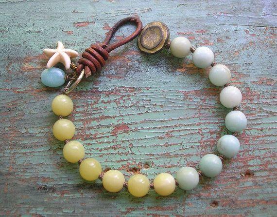 Leather and gemstones bracelet Seashore Boho by 3DivasStudio