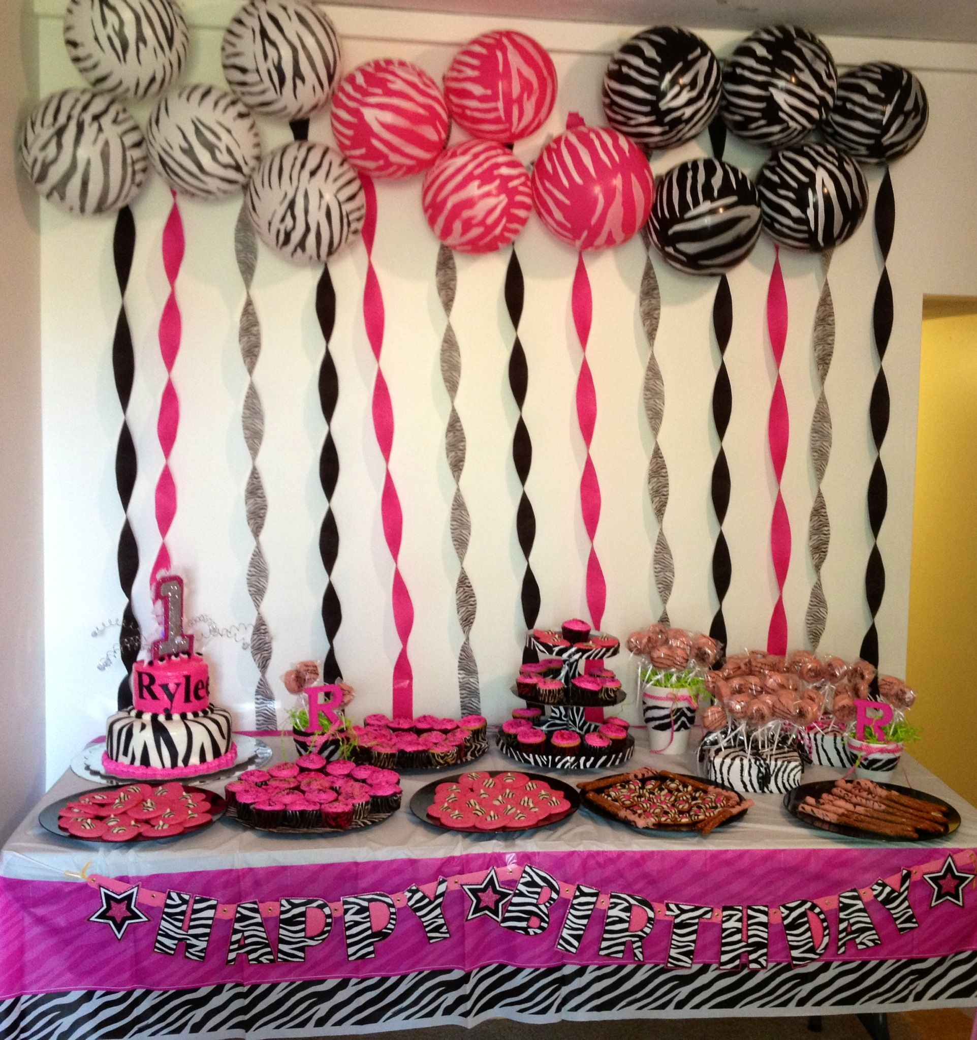 Zebra theme dessert table I did for my daughters 1st Birthday