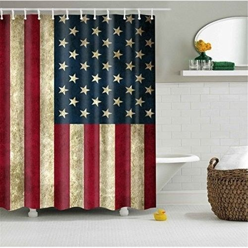 Vintage Shower Curtain American Flag Bathroom Shower Curtain ...