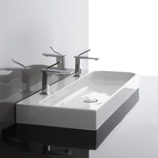 WS Bath Collections Unit Ceramic Wall Mounted Vessel Bathroom Sink | AllModern