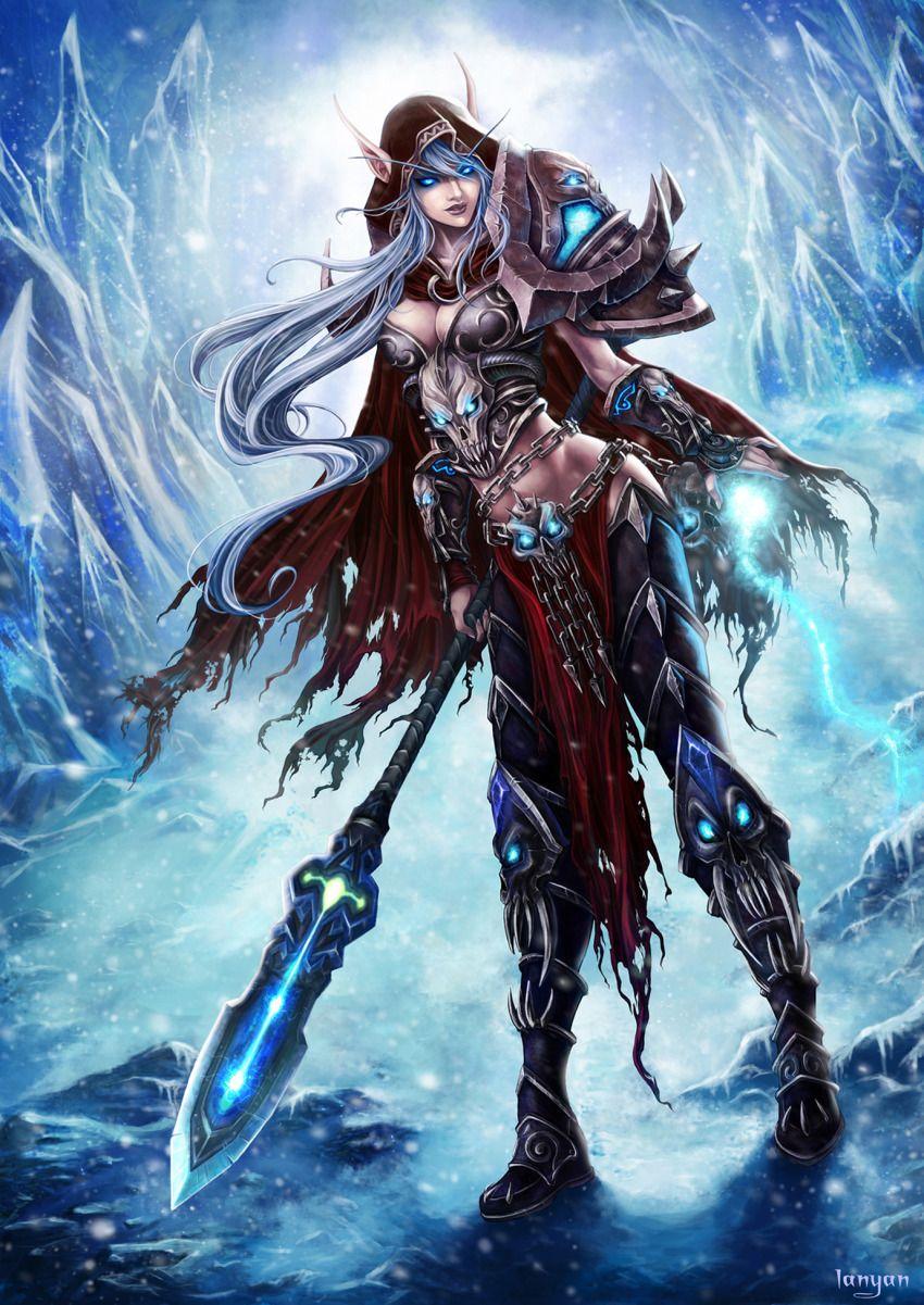 armor blue_eyes blue_hair elf gauntlets highres ice navel