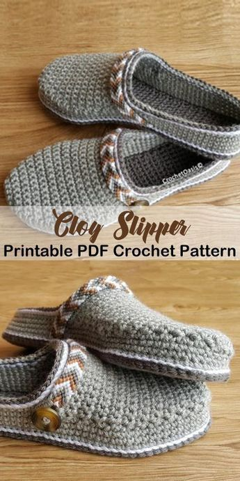 Make these clog slippers -slipper crochet patterns – crochet pattern pdf – hat c…