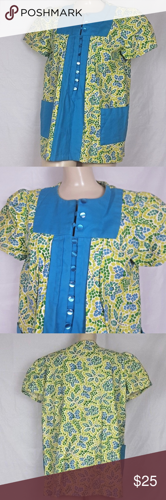 95d685b14f403 Vtg 70's sz M Turquoise & Lime Green Smock Top Vintage 1970's size M  Turquoise, Lime & Green Smock Top (Maternity Top) Button Front with Pearl  and loop ...