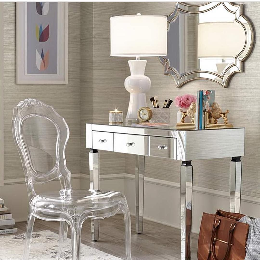 Visually Open Mirrored Vanity Desk And Clear Acrylic Chair Home Decor Furniture Old Hollywood Decor