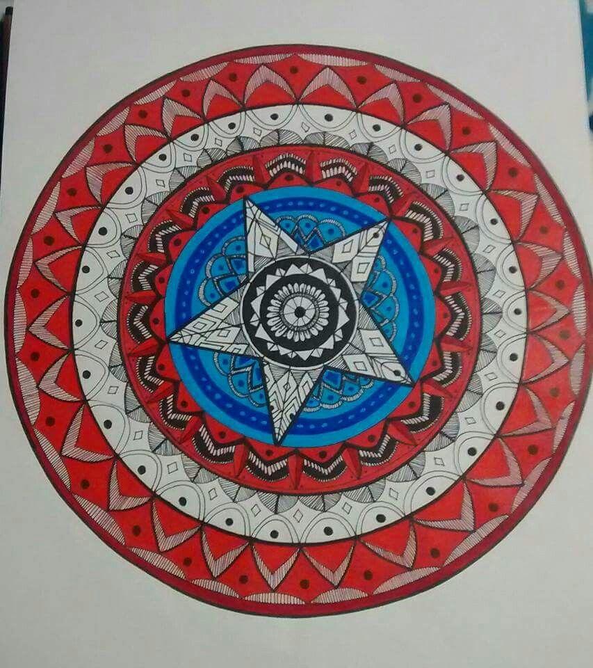 Mandala, Escudo Capitan America   mandalas   Pinterest   Escudo ...