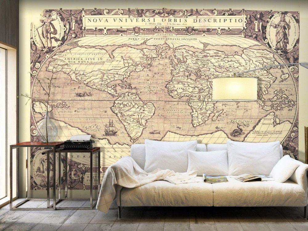 Good Fototapete Weltkarte im Vintage Stil u elegante Wanddeko f r Ihr Wohnzimmer fototapete fototapeten