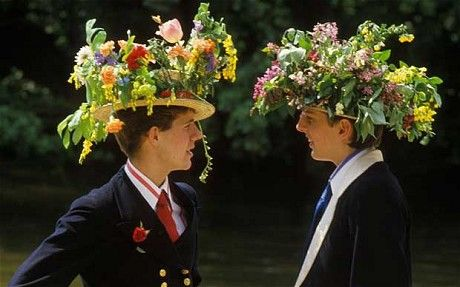 ~ Founders Day at Eton College ~ traditional floral hats are worn to boat on the river ~ Founders Day follows the release of grades ~