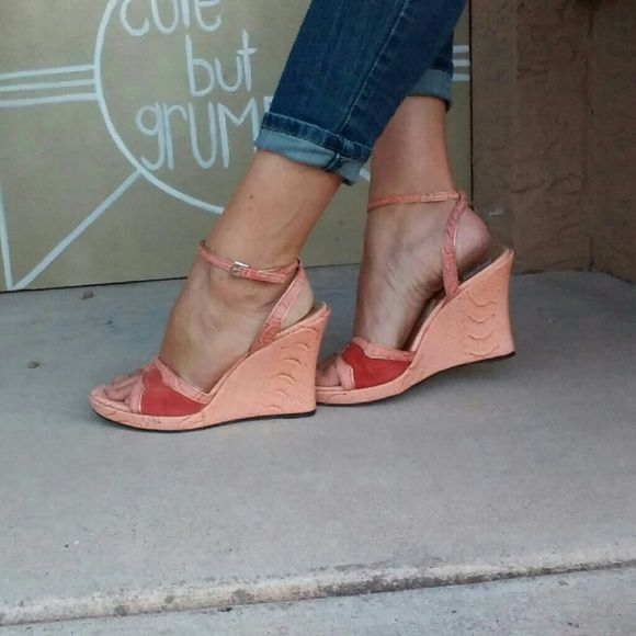 """Vintage Franco Sarto Wedges Salmon colored, mostly man made materials. Faux croco covered with Sueded detail at toe. Some damage to insole and overall very little signs of wear/tear. Adjustable ankle straps, all original hardware. 4.5"""" wedge includes .5"""" platform. Franco Sarto Shoes Wedges"""