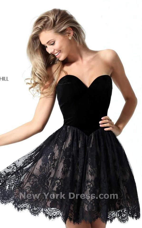 Dance and twirl in this terrific cocktail dress from Sherri Hill The  strapless bodice has a charming sweetheart neckline and is made to create  curves.