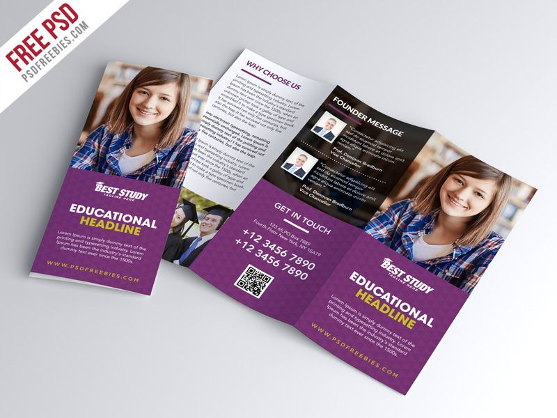 Free Psd  University College Trifold Brochure Psd Template  Psd