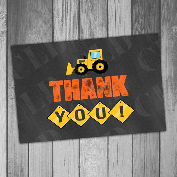 Thank You Card Construction Birthday Printable Construction