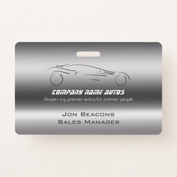 Auto Car on Brushed Steel - Sportscar template Badge - office supply template
