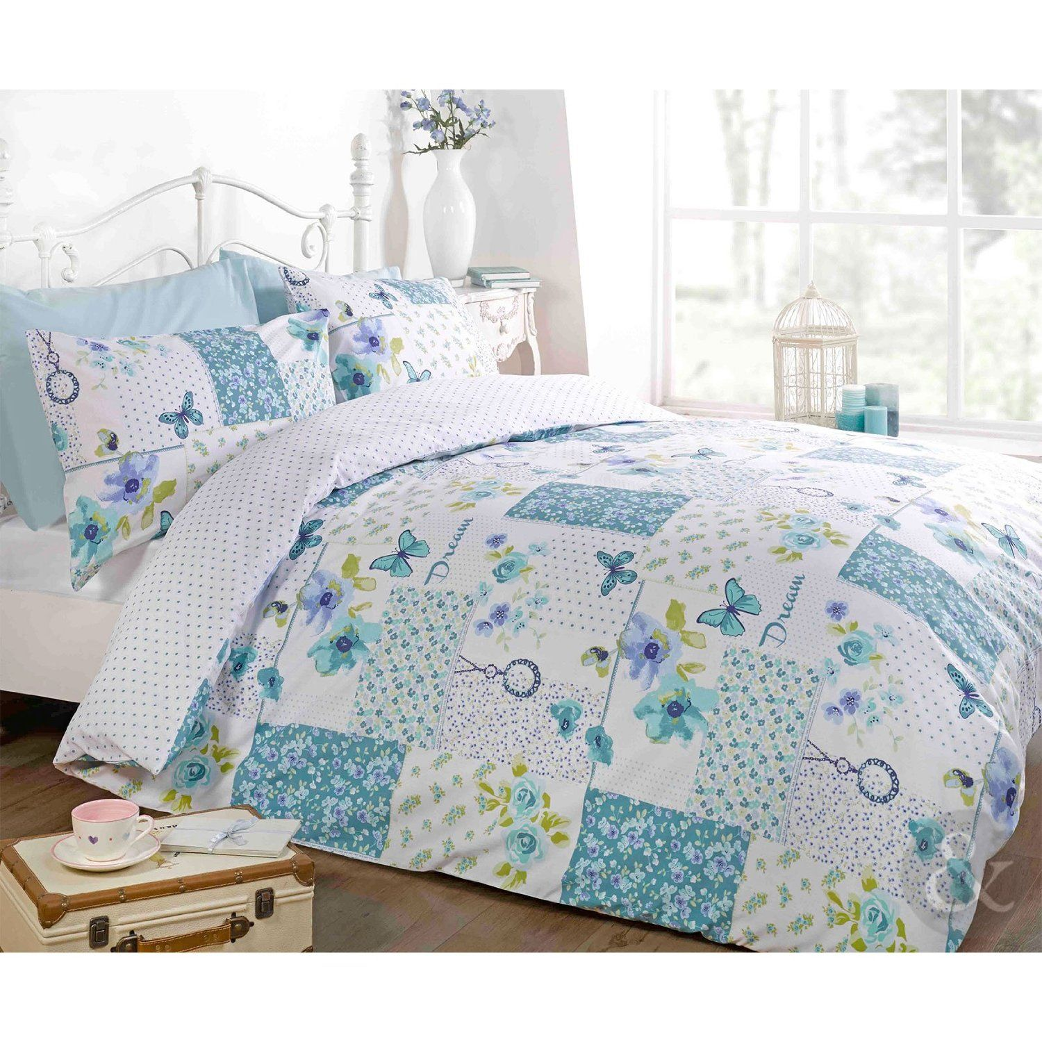 BUTTERFLY FLORAL PATCHWORK DUVET COVER - Reversible White Teal Blue ...