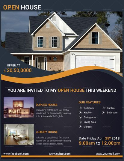 Luxury Open House Flyer Template | Pinterest | Flyer template, Open ...
