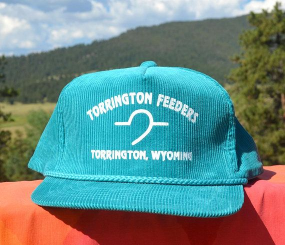 vintage 80s corduroy hat TORRINGTON feeders wyoming cord Wyoming 058fa6c2ad7e