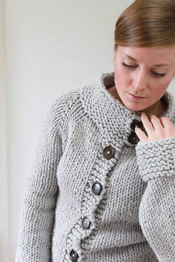 efbd980dfae5 KNITTING PATTERN    Twiggy Cardigan    top-down super bulky sweater ...