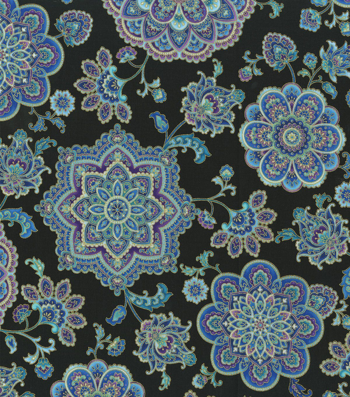 Premium Cotton Fabric Purple Teal Medallions In 2020 Purple