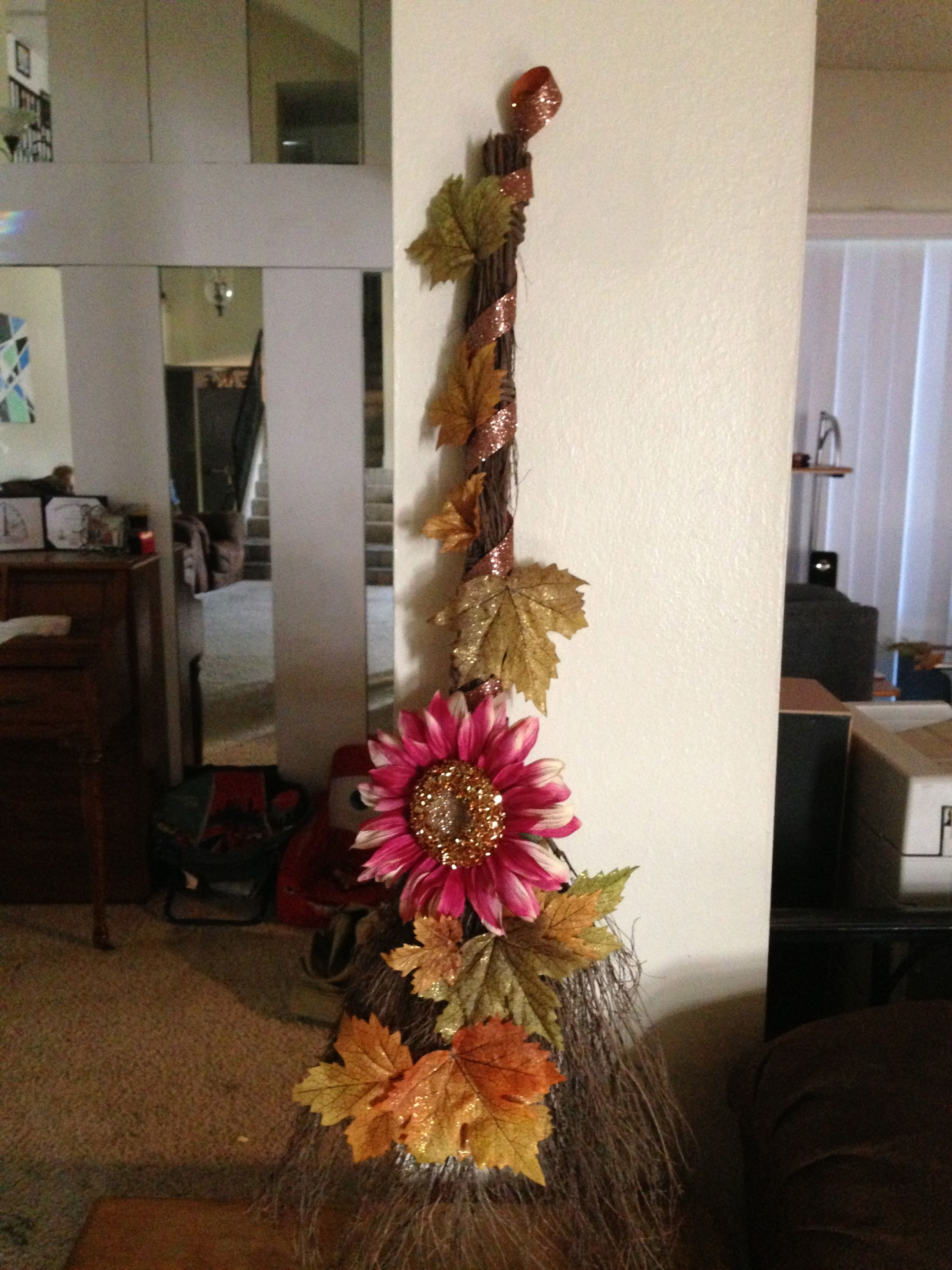 Wicker Broom with fall leaves and glitter ribbon. #Fall Door Decoration & Wicker Broom with fall leaves and glitter ribbon. #Fall Door ...