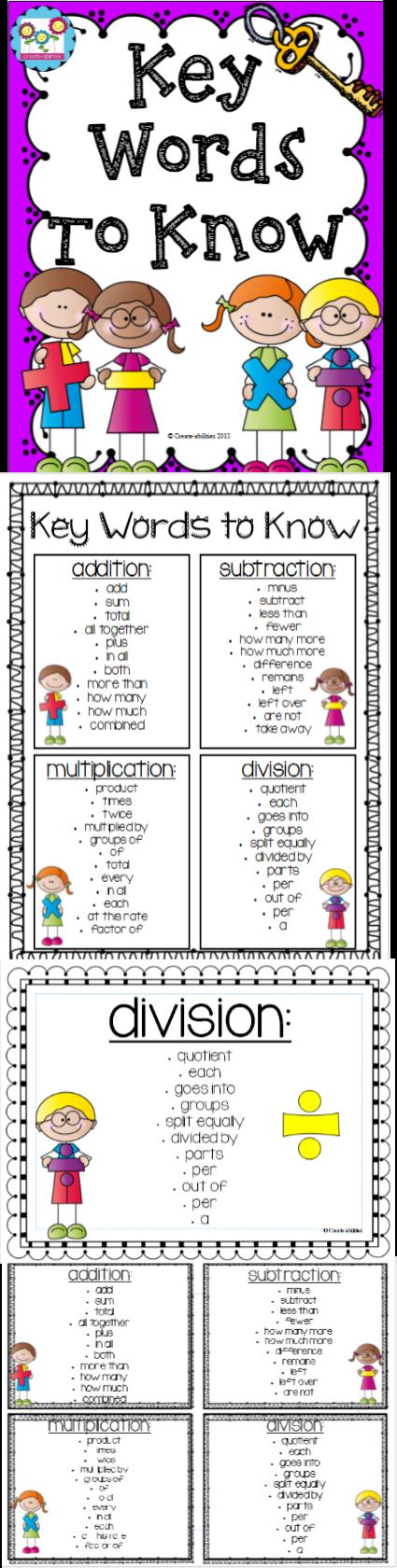 Word Problems Key Words To Know Third Grade Math Math Vocabulary Education Math