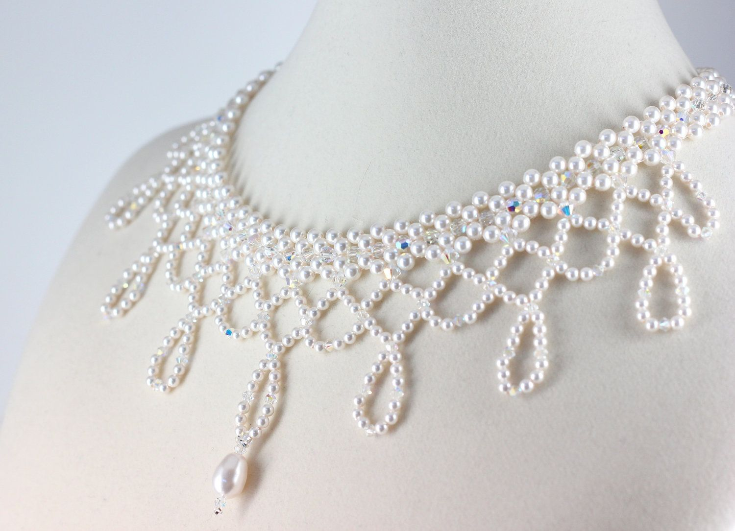 Bridal Choker White Pearl Crystal Beaded Necklace Wedding Jewelry