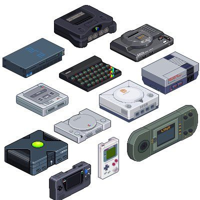 Missing a few consoles, but really cool pixel art nonetheless.