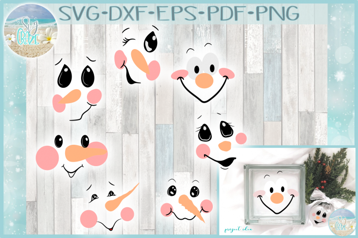 FREE Snowman Face Bundle SVG Dxf Eps Png PDF Files for Cricut