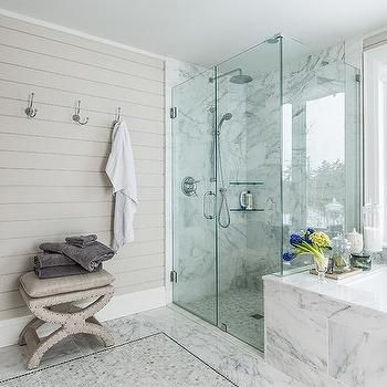 Marble Master Bathroom With Gray Shiplap Accent Wall B A