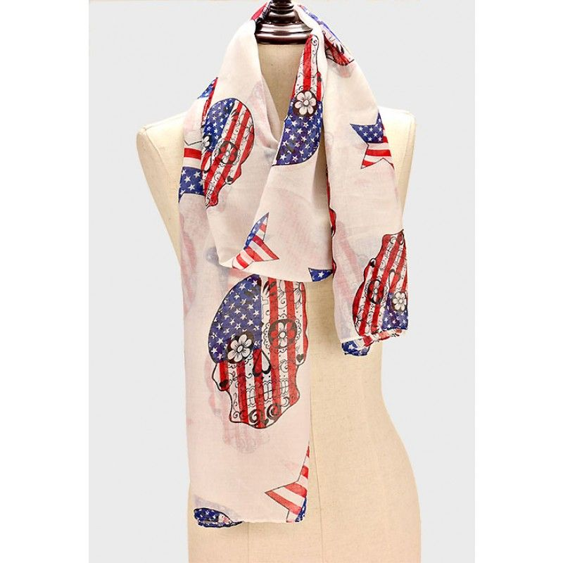 Red, White, and Blue Sugar Scull Scarf