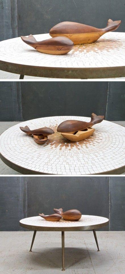 老式木雕鲸鱼首饰盒,美国70年代出品,使用柚木、胡桃木和松木制作。