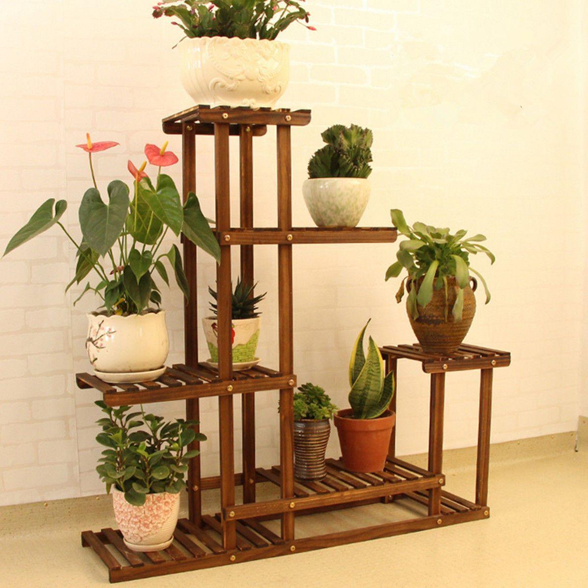 Wooden Plant Stand Indoor Outdoor Patio Garden Planter Flower Pot Stand Shelf Ebay Flower Stands Wood Plant Stand Plant Stand