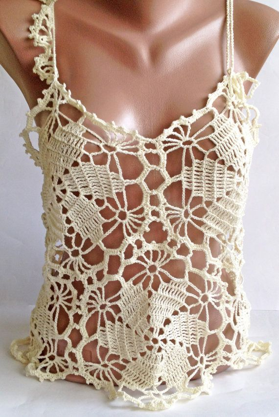 Crochet top/ Boho Chick Crochet Top/ Bohemia lace Top/ Crochet Sexy ...
