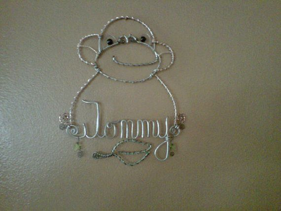Monkey wire name hanger by LisaAnneBennett on Etsy, $20.00