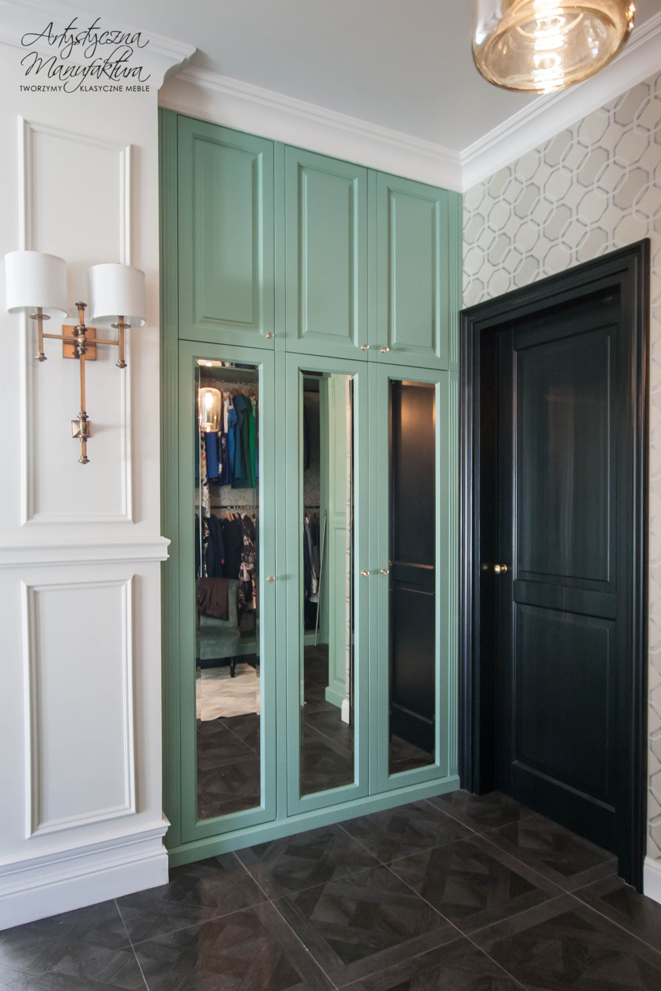 miętowa garderoba, szafa z lustrem w garderobie, mint wardrobe ...