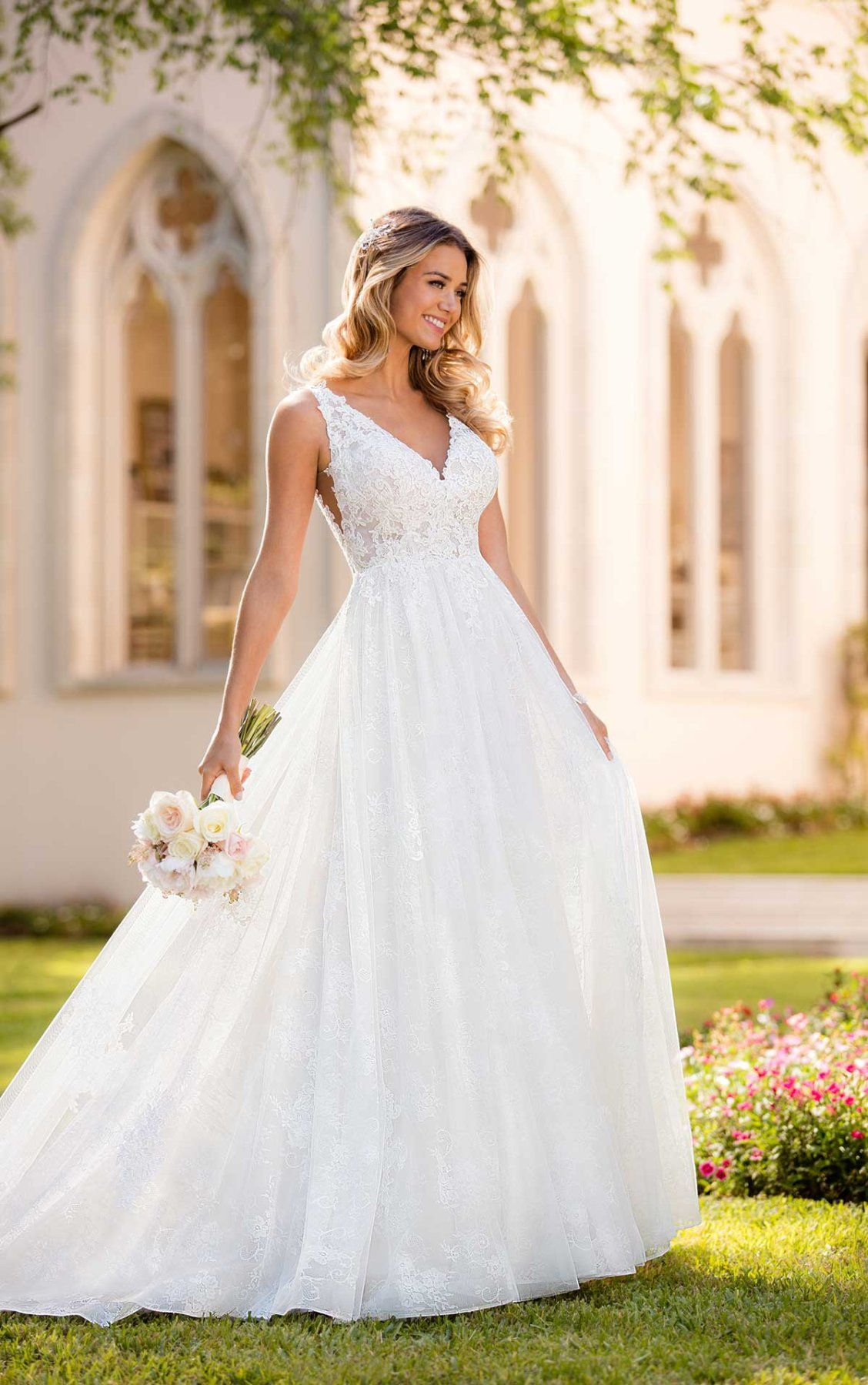 Boho wedding dress with floral lace stella york wedding dress and