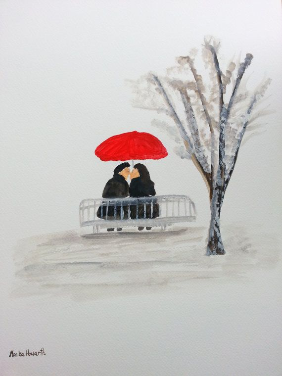 40 off  sale Couple in Love winter original por artbymonika en Etsy, £12.50