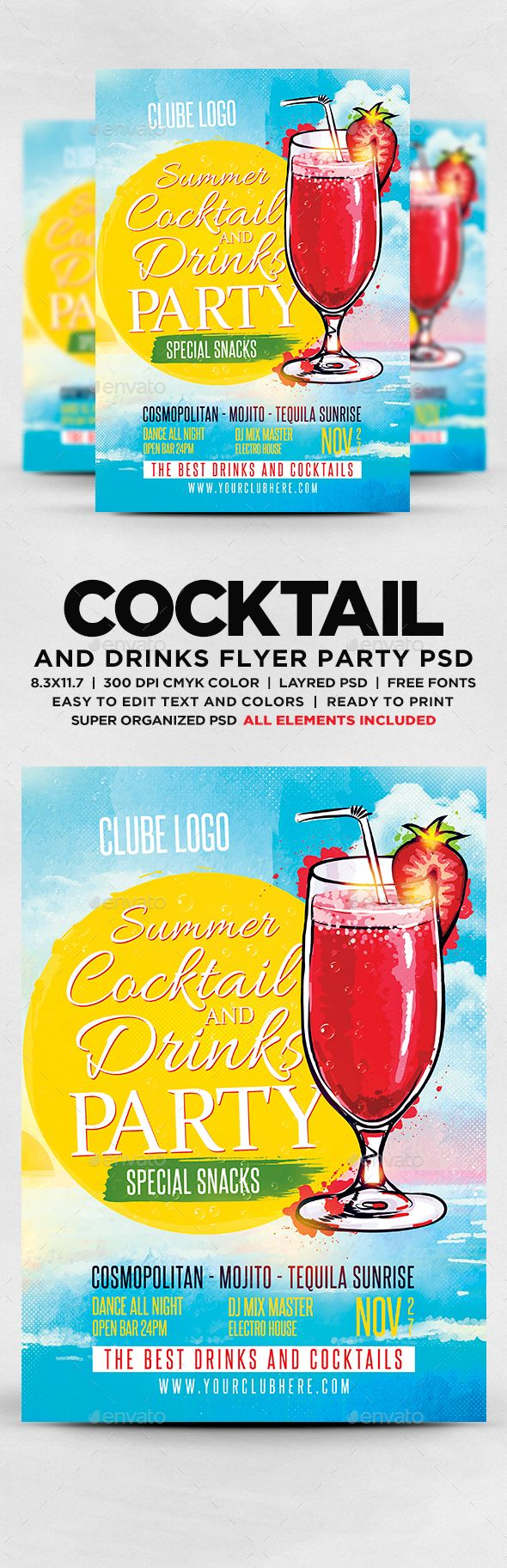 Summer Cocktail And Drinks Party Flyer Template PSD