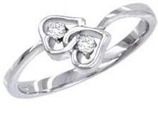 Beautiful Genuine Diamond Double Intertwined Heart Shaped Design Ladies Ring 14kt White Gold Size 3-10