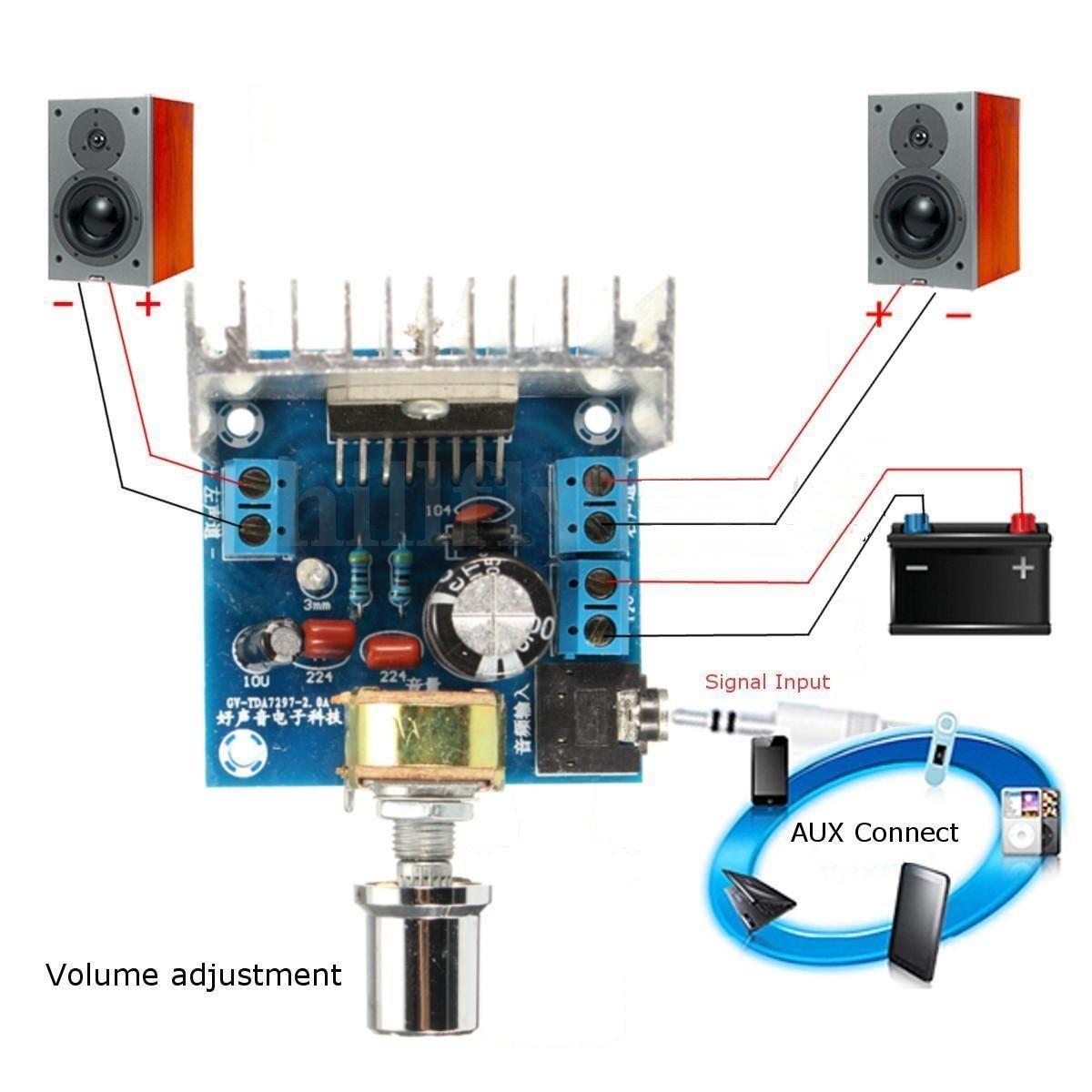 268 acdc 12v tda7297 2x15w digital audio amplifier