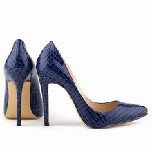 Azul Sexy Ladies Women Shoes grano del cocodrilo del patrón tacones altos Stilettos zapatos tamaño ee.uu. 7 8 9(China (Mainland))