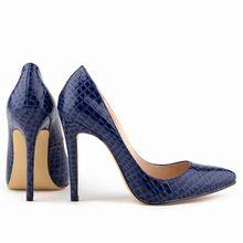 Azul Sexy Ladies Women Shoes grano del cocodrilo del patrón tacones altos Stilettos zapatos tamaño ee.uu. 7 8 9(China (Mainland))